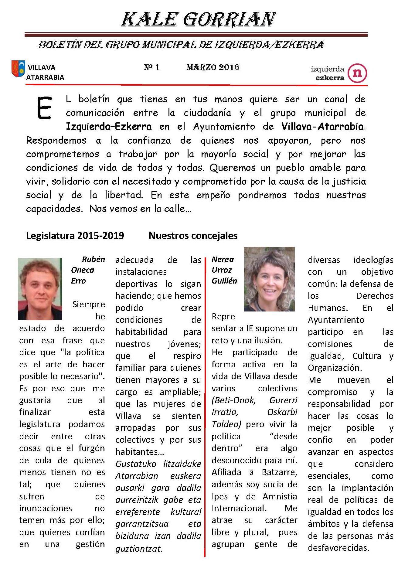 Boletín Informativo del grupo Izquierda Ezkerra Villava-Atarrabia. 1º Semestre 2016