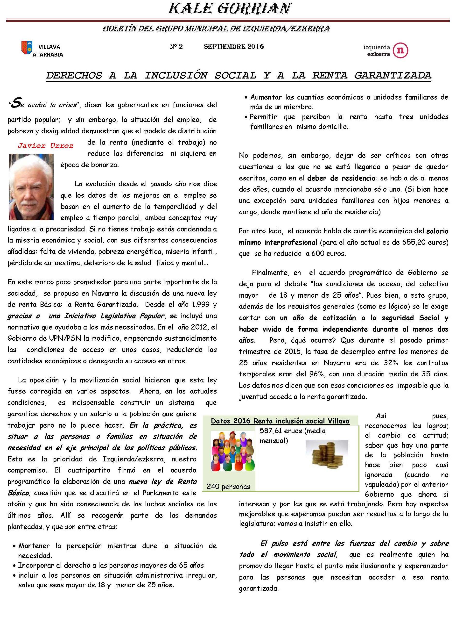 Boletín Informativo del grupo Izquierda Ezkerra Villava-Atarrabia. 2º Semestre 2016