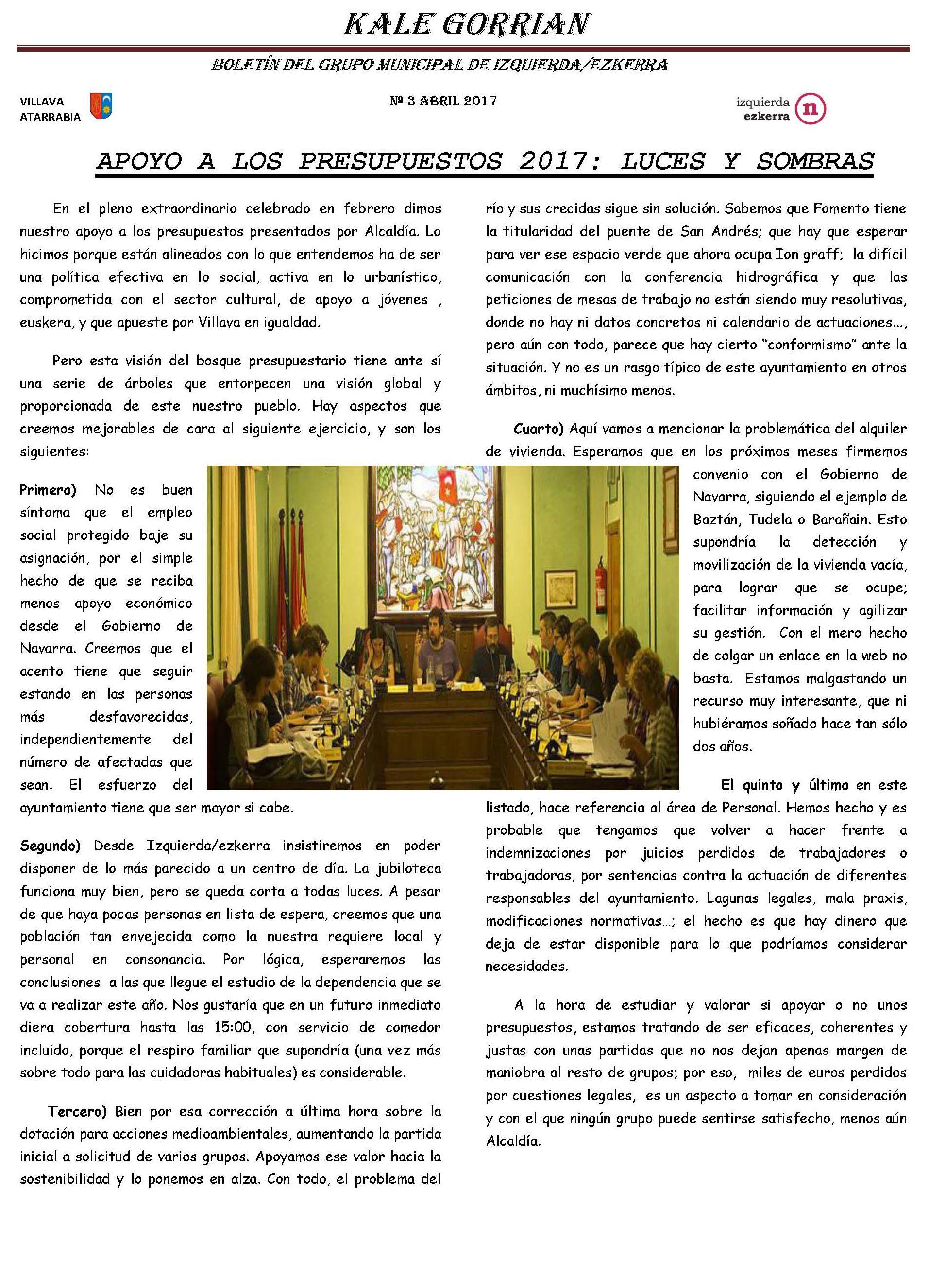 Boletín Informativo del grupo Izquierda Ezkerra Villava-Atarrabia. 1º Semestre 2017