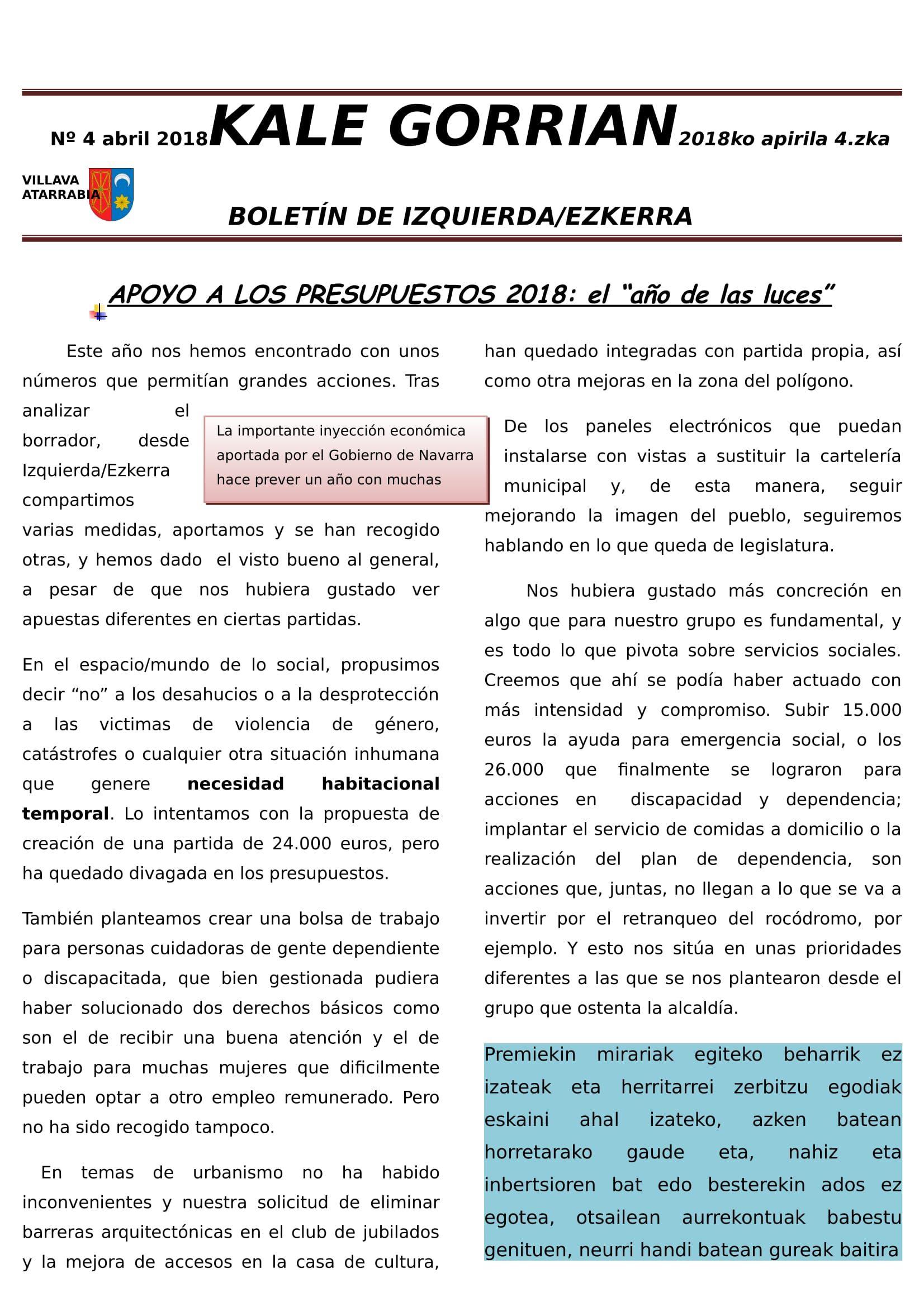 Boletín Informativo del grupo Izquierda Ezkerra Villava-Atarrabia. nº 4, abril 2018