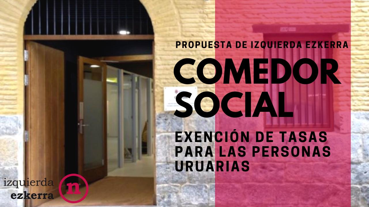 Aprobada la propuesta de IE para eliminar la tasa del comedor social de Pamplona