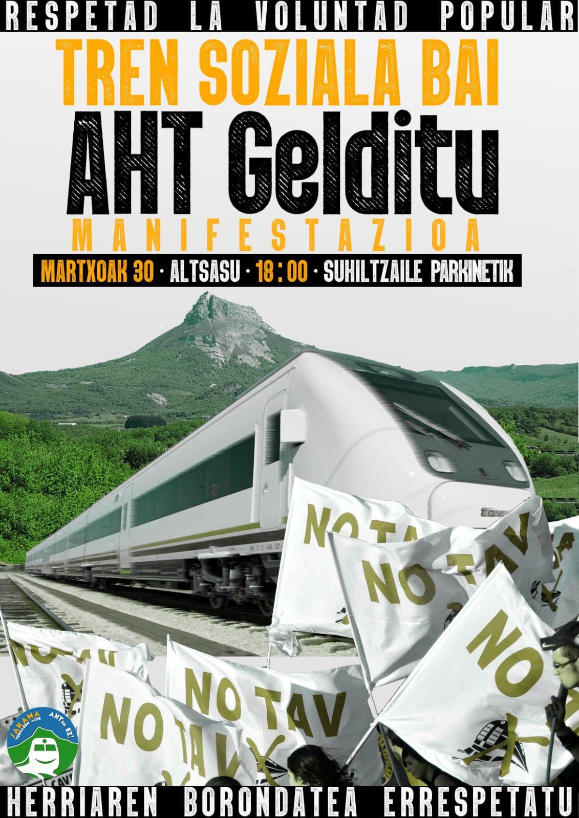 Izquierda-Ezkerra secunda  la manifestación contra el TAV y en favor de un tren social que se celebrará el próximo sábado día 30 en Alsasua