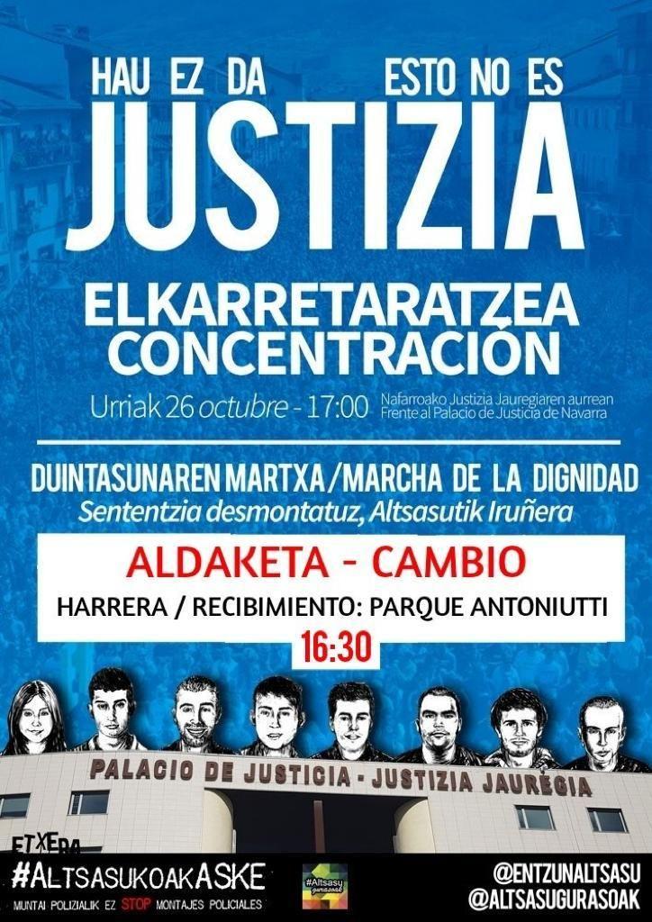 """Izquierda-Ezkerra hace un llamamiento a la participación el próximo sábado en la movilización convocada por """"Altsasu Gurasoak""""."""