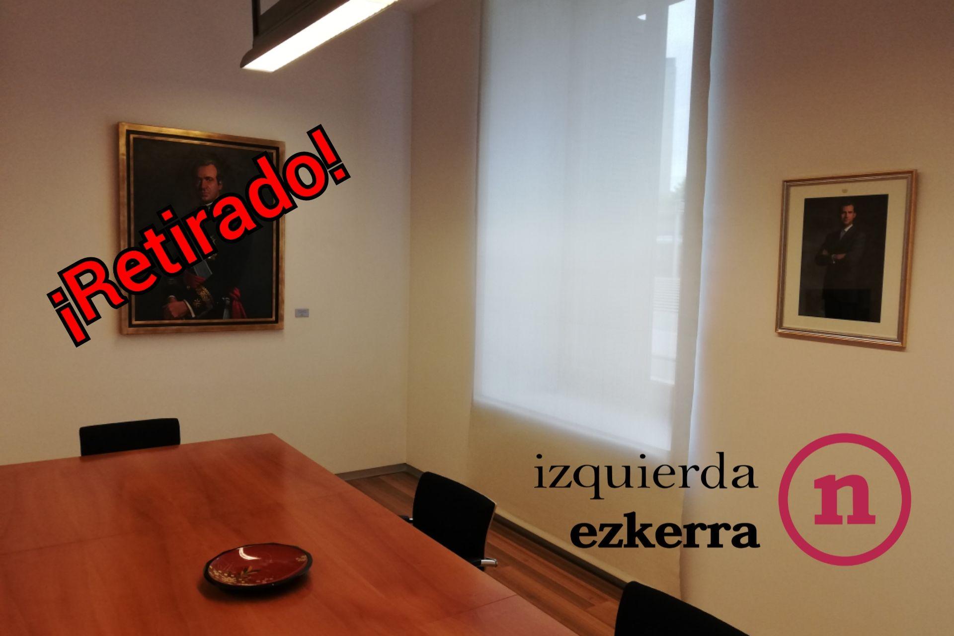 La Junta de Portavoces del Parlamento acuerda, a solicitud de I-E, la retirada el retrato del ciudadano Juan Carlos de Borbón de la Sala de Gobierno