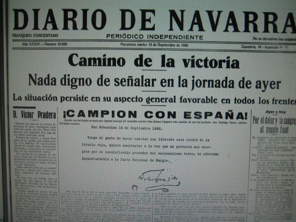 Izquierda-Ezkerra rechaza la entrega de la Medalla de Oro de Navarra a Arturo Campión y pide al Gobierno de Navarra que rectifique su decisión